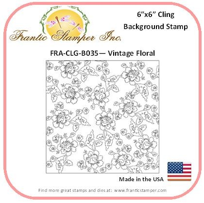 Frantic Stamper - 6x6 Background Rubber Stamp - Vintage Floral