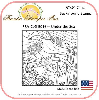 Frantic Stamper - 6x6 Background Rubber Stamp - Under The Sea Coloring