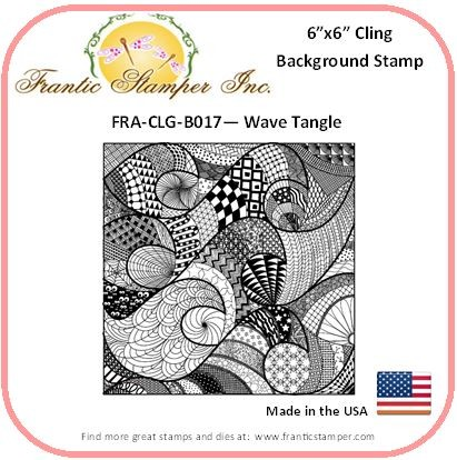 Frantic Stamper - 6x6 Background Rubber Stamp - Wave Tangle
