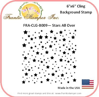Frantic Stamper - 6x6 Background Rubber Stamp - Stars All Over