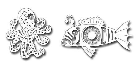 Frantic Stamper Precision Die - Steampunk Octopus and Fish