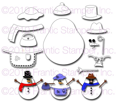 Frantic Stamper Precision Die - Plump Snowman Kit :)