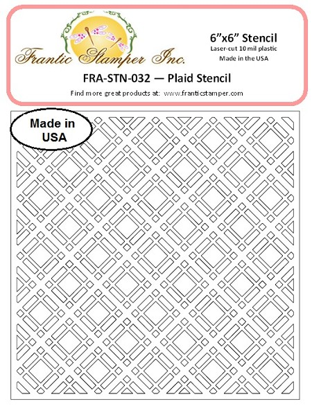 "Frantic Stamper - 6""x6"" Stencil - Plaid"