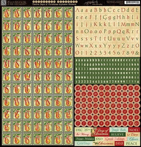"Graphic 45 - 12 Days of Christmas Collection - 12""x12"" Sticker Sheet - Alphabet"