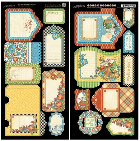 Graphic 45 - Mother Goose Collection - Die Cut Cardstock - Tags & Pockets :)
