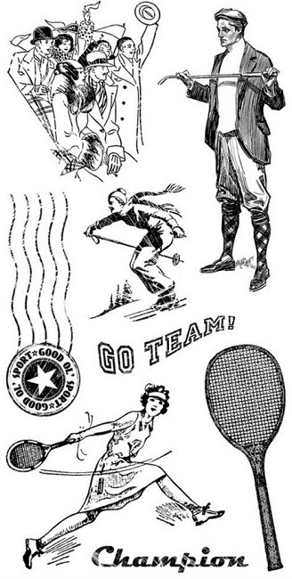 Graphic 45 - Good Ol' Sport Collection - Cling Stamp #3 :)
