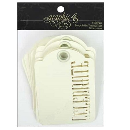 Graphic 45 - Staples - ATC Die-Cut Cardstock Tags - Ivory Celebrate - 10/Pkg