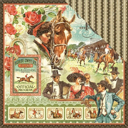 "Graphic 45 - Off To The Races Collection - 12""x12"" cardstock - Off To The Races"