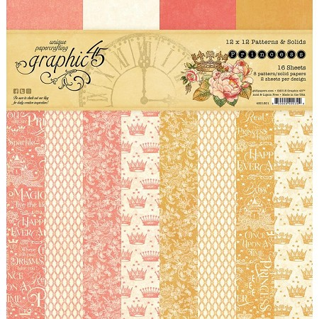 Graphic 45 - Princess Collection - 12x12 Patterns & Solids Paper Pad
