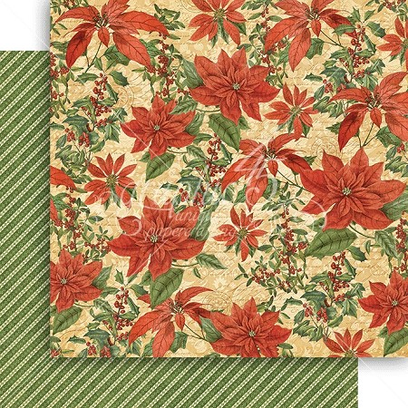"Graphic 45 - Winter Wonderland Collection - 12""x12"" cardstock - Pretty Poinsettia"