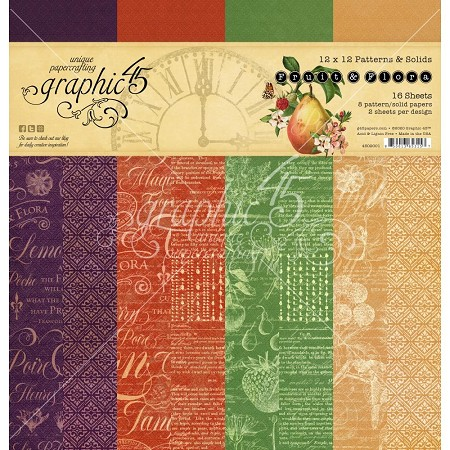 Graphic 45 - Fruit & Flora Collection - 12x12 Patterns & Solids Paper Pad