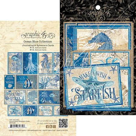 Graphic 45 - Ocean Blue Collection - Ephemera Cards
