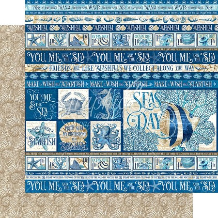 "Graphic 45 - Ocean Blue Collection - Corfu 12""x12"" cardstock"