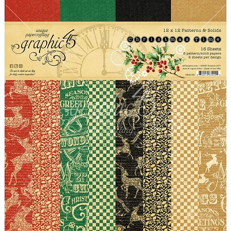 Graphic 45 - Christmas Time Collection - 12x12 Patterns & Solids Paper Pad
