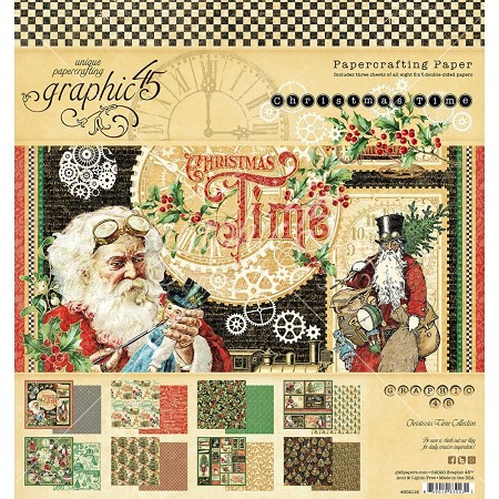Graphic 45 - Christmas Time Collection - 8x8 Paper Pad