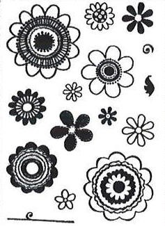 Hampton Art-4x6 Clear Stamp Set-Funky Flowers