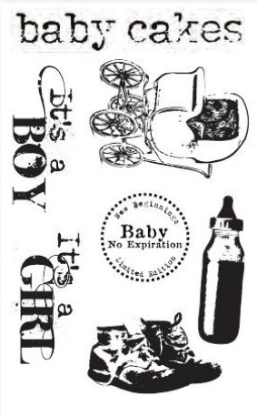 Hampton Art - 7 Gypsies - 4x6 Clear Stamp Set - Baby Cakes