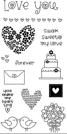 Hampton Art - Doodlebug Design  - Clear Stamp - Love Life