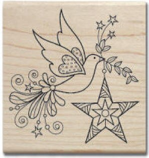 Hampton Arts- Wood Mounted Stamp-Flying Peace Dove
