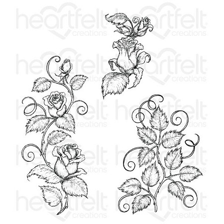 Heartfelt Creations - Classic Rose Collection - Classic Rose Vines Cling Stamp Set