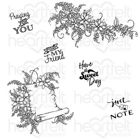 Heartfelt Creations - Lush Lilac Collection - Sweet Lilac Scroll & Notes Cling Stamp Set