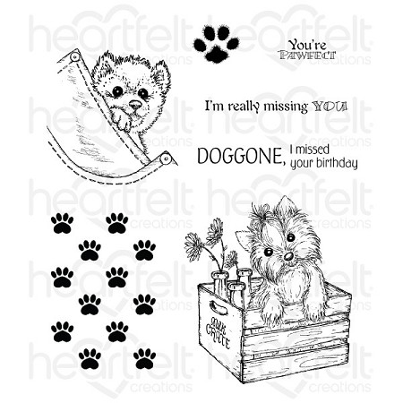 Heartfelt Creations - Pampered Pooch Collection - Pampered Pooch You're Paw-fect Cling Stamp Set