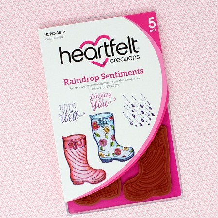 Heartfelt Creations - Singing In The Rain Collection - Raindrop Sentiments Cling Stamp Set