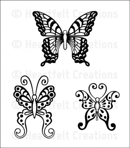 Heartfelt Creations - Butterfly Medley Collection - Cling Stamps - Botanical Wings