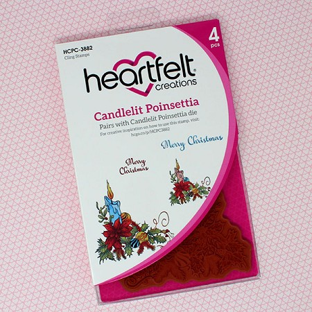 Heartfelt Creations - Candlelit Christmas Collection - Candlelit Poinsettia Cling Stamp Set