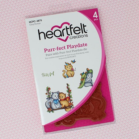 Heartfelt Creations - Purr-Fect Posies Collection - Purr-fect Playdate Cling Stamp Set
