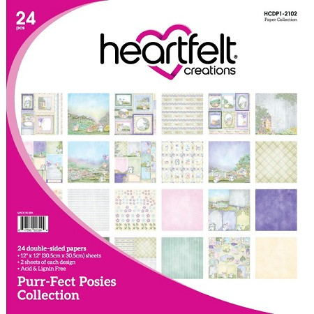 "Heartfelt Creations - 12""x12"" Paper Pad - Purr-Fect Posies Paper Collection"