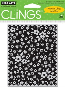 Hero Arts-Cling Rubber Stamp-Edged Fabric w/Flowers :)