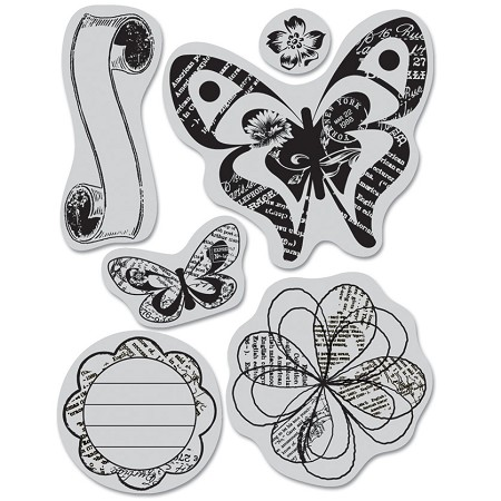 Hero Arts Cling Stamp - (for Basic Grey)-Out of Print-Butterflies & Print