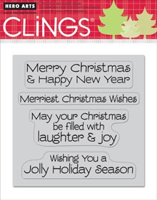 Hero Arts-Cling Rubber Stamp-Jolly Holiday Wishes
