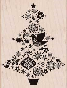 Hero Arts - Wood Mounted Rubber Stamp - Fancy Tree