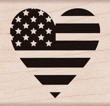 Hero Arts - Wood Mounted Rubber Stamp - Heart Flag