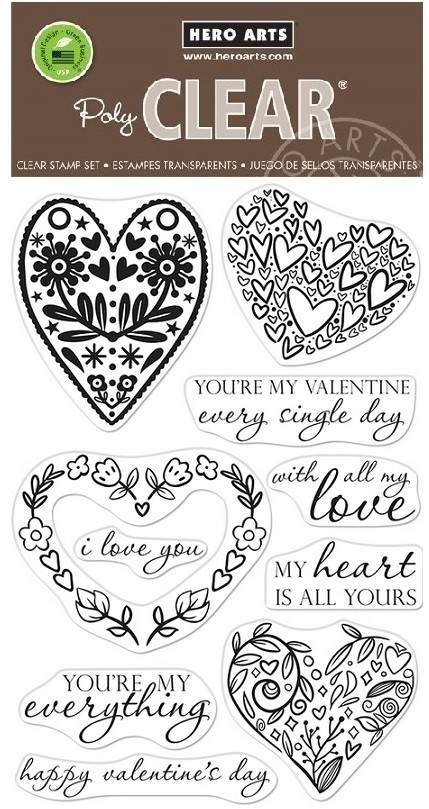 Hero Arts - Clear Stamp - All My Love Decorative Hearts