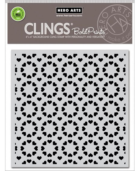 Hero Arts - Cling Rubber Stamp - Heart Pattern Bold Prints