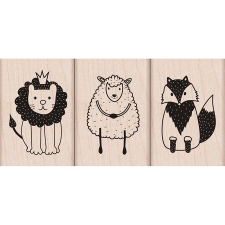 Hero Arts - Wood Mounted Rubber Stamp - Cute Animal Trio Artistic Impression
