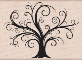 Hero Arts-Wood Mounted Rubber Stamp-Decortative Flourish Tree