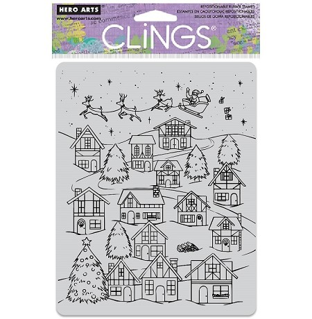 Hero Arts - Cling Rubber Stamp - Peek-A-Boo Winter Village