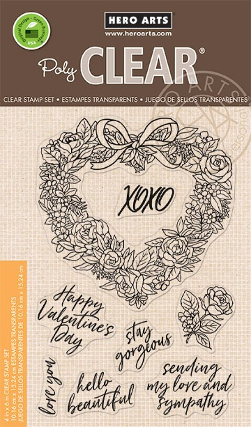 Hero Arts - Clear Stamp - Floral Heart Wreath