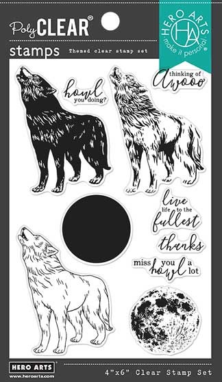 Hero Arts - Clear Stamp - Color Layering Howling Wolf