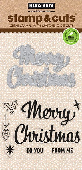 Hero Arts - Stamp & Cut - Merry Christmas Script Stamp & Die Set