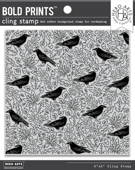 Hero Arts - Cling Rubber Stamp - Crows & Autumn Leaves Bold Prints