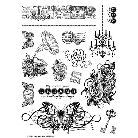"Hot Off The Press - Clear Stamps - On the Wings of a Butterfly (6""x8"")"