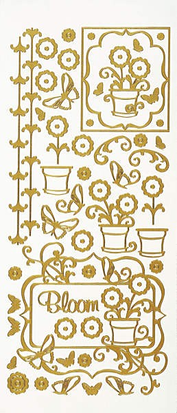 Hot off the Press-Dazzles Stickers-Blooms Gold