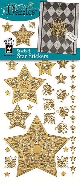 Hot off the Press-Dazzles Stickers-Stacked Star Gold