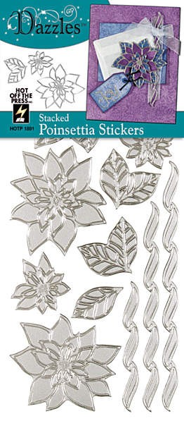 Hot off the Press-Dazzles Stickers-Stacked Poinsettia Silver
