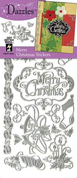 Hot off the Press-Dazzles Stickers-Merry Christmas Silver